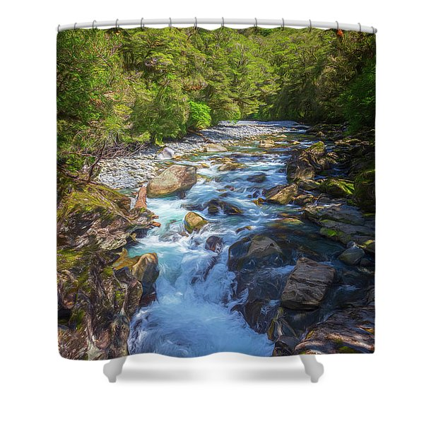 The Chasm Southland New Zealand Shower Curtain