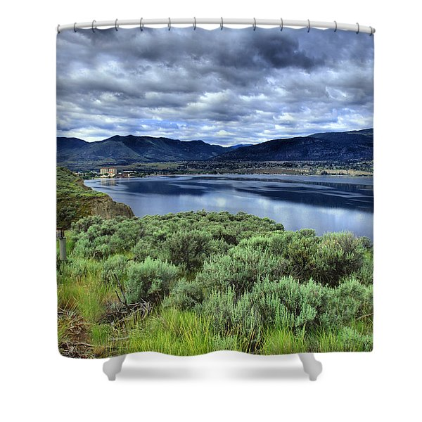 The City And The Clouds Shower Curtain by Tara Turner