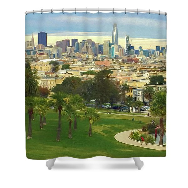The City From Dolores Park Shower Curtain