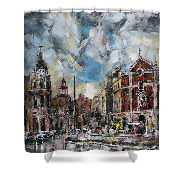 The City Touched By The Sunset Shower Curtain