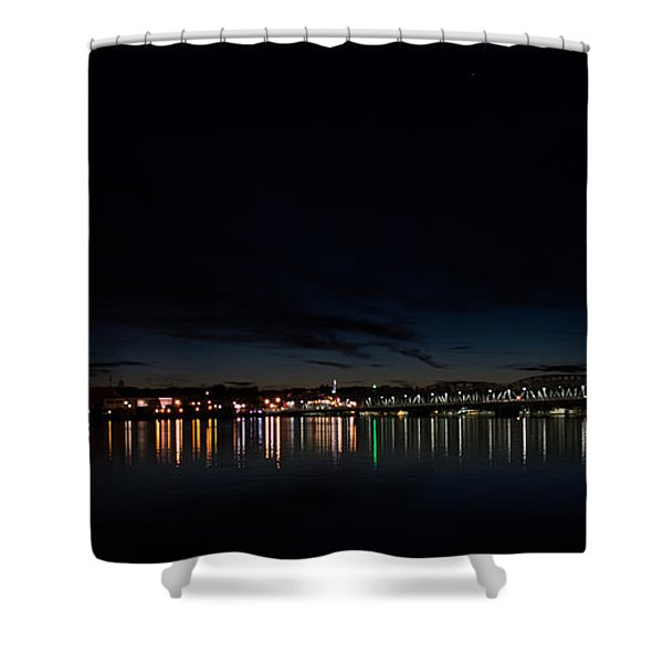 The Colors Of A Nightly Bridge Shower Curtain