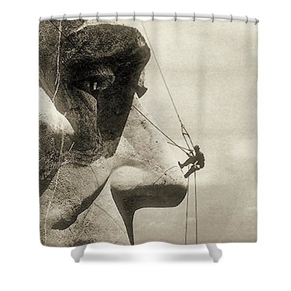 The Construction Of The Mount Rushmore National Memorial, Detail Of Abraham Lincoln,1928  Shower Curtain