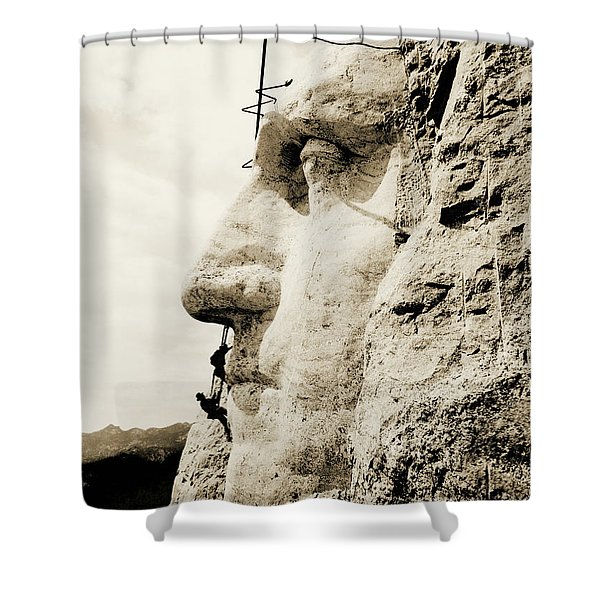 The Construction Of The Mount Rushmore National Memorial, Detail Of George Washington Shower Curtain