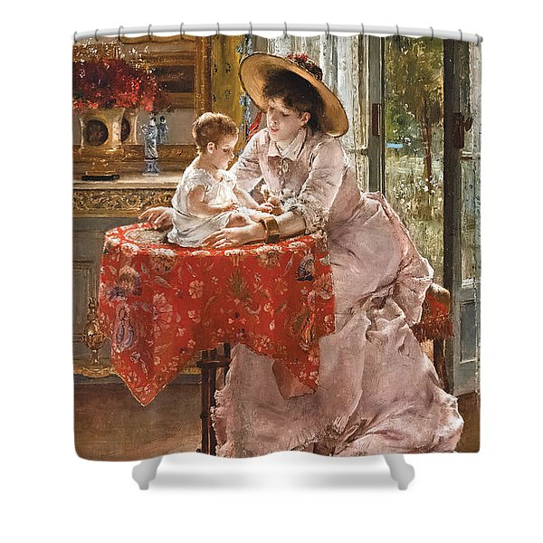The Contented Mother Shower Curtain