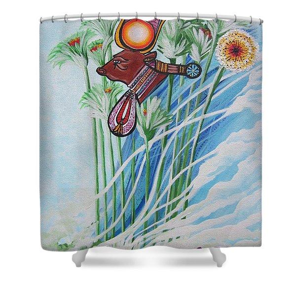 Blaa Kattproduksjoner           The Cow Goddess - Hathor Shower Curtain