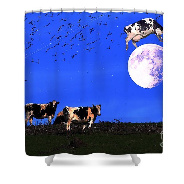 The Cow Jumped Over The Moon Shower Curtain