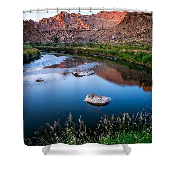 Shower Curtain featuring the photograph The Crooked River Runs Through Smith Rock State Park  by Bryan Mullennix