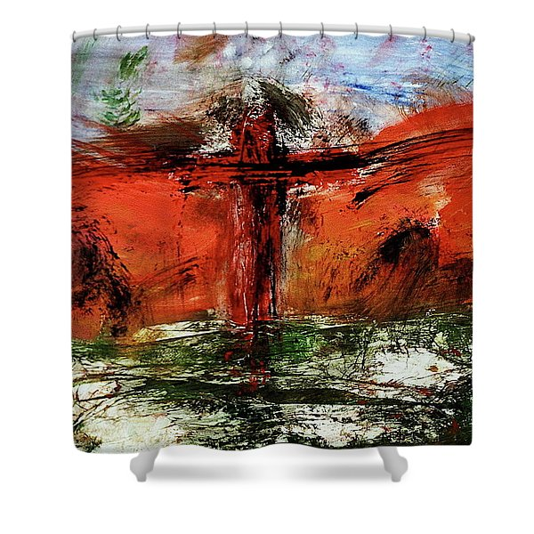 Shower Curtain featuring the mixed media The Crucifixion #1 by Michael Lucarelli