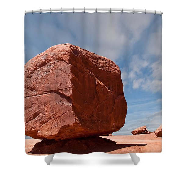 The Cube At Monument Valley Shower Curtain