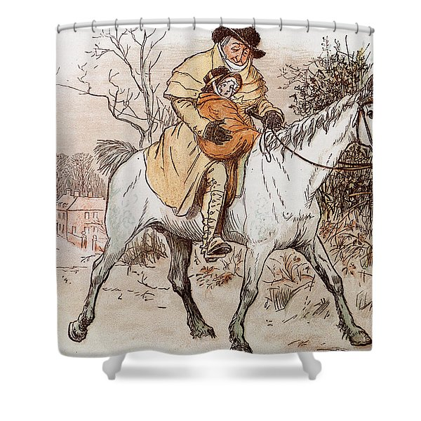 The Curmudgeons Christmas  Horse Riding  Shower Curtain