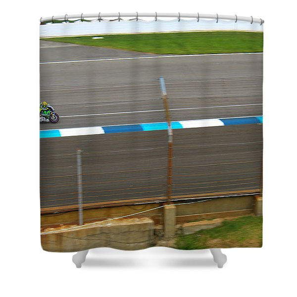 The Doctor At Indy  Valentino Rossi  Shower Curtain