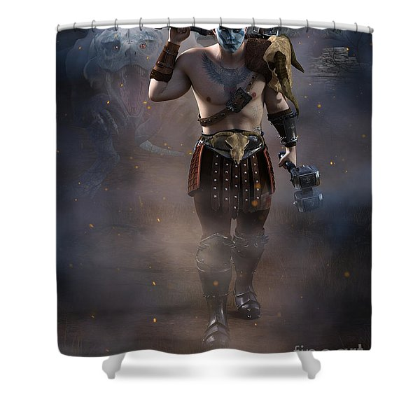 The Dragon Master Shower Curtain
