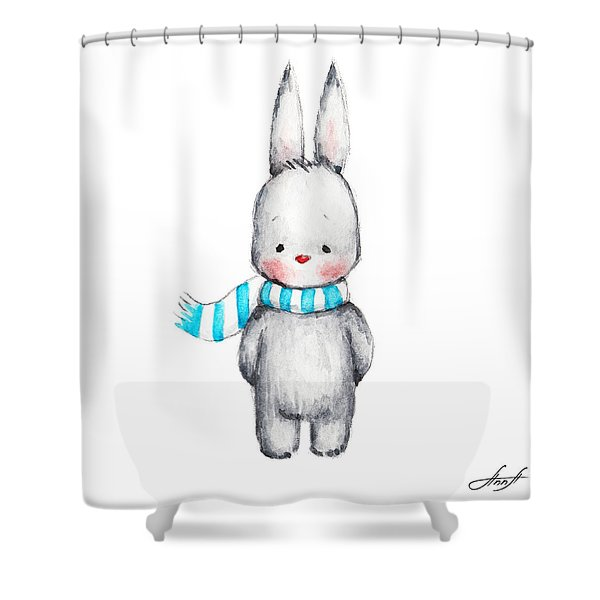 The Drawing Of Cute Bunny In Scarf Shower Curtain