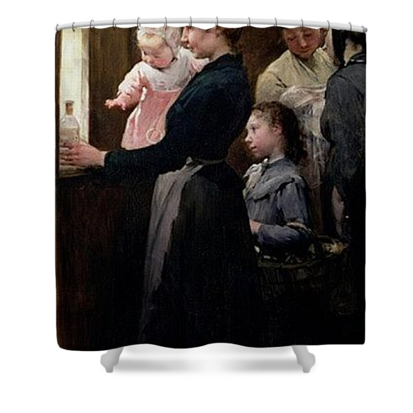 The Drop Of Milk In Belleville Doctor Variots Surgery The Distribution Of The Milk Henry Jules Jean Geoffroy Shower Curtain