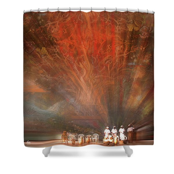 The Drumbeat Rising Shower Curtain
