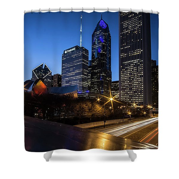 The East Side Skyline Of Chicago  Shower Curtain