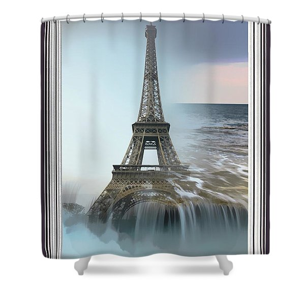 The Eiffel Tower In Montage Shower Curtain
