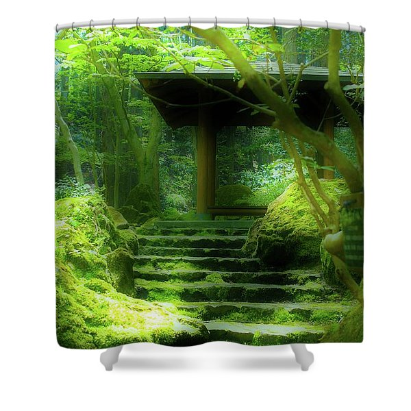 The Emerald Stairs Shower Curtain