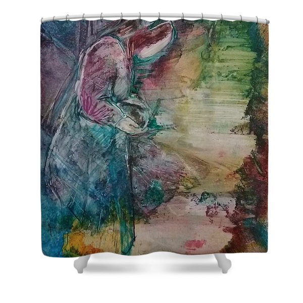 Shower Curtain featuring the painting The Empty Tomb by Deborah Nell