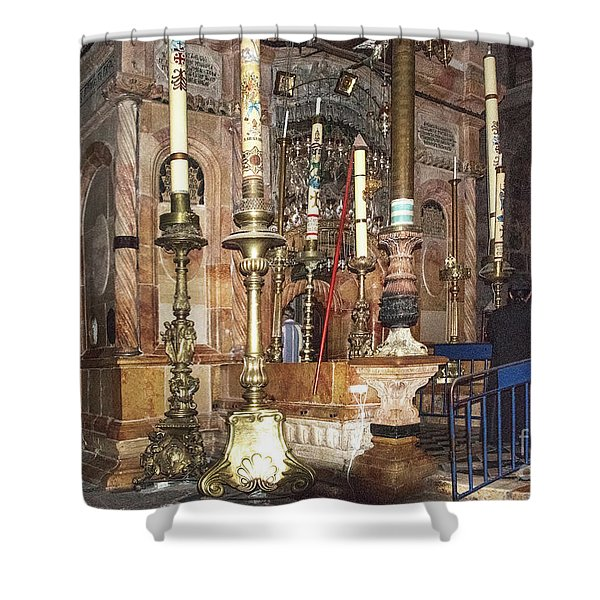 Shower Curtain featuring the photograph The Empty Tomb Of Christ by Mae Wertz