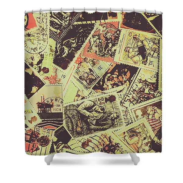 The English Postage Scene Shower Curtain