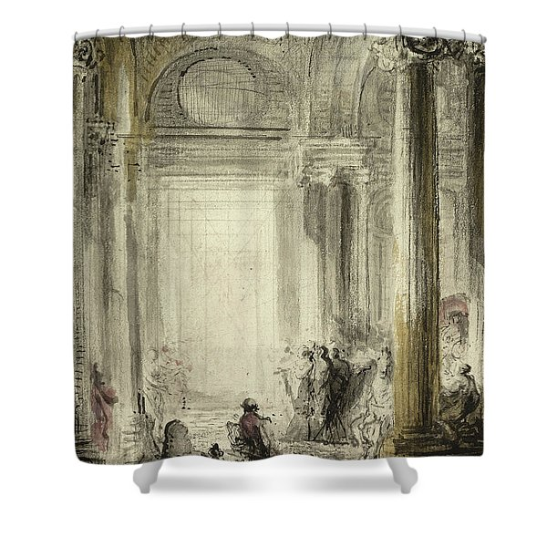 The Entrance Of The Academy Of Architecture At The Louvre Shower Curtain