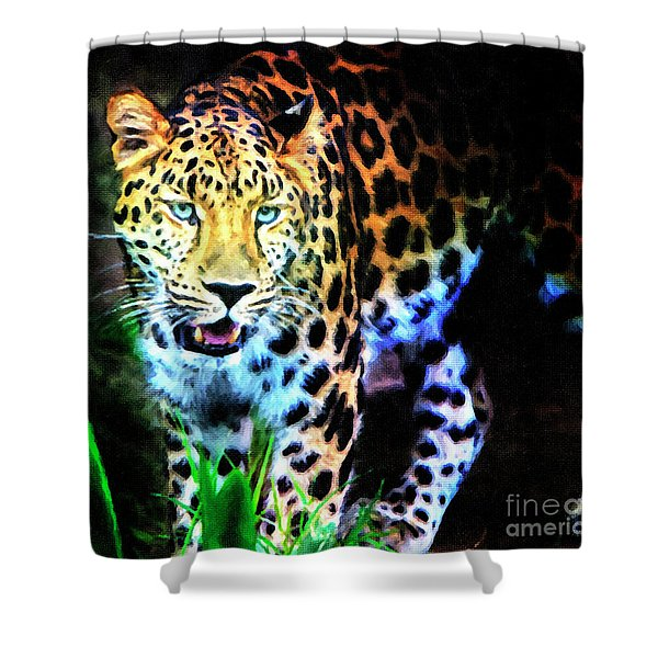 Shower Curtain featuring the mixed media The Eyes by David Millenheft