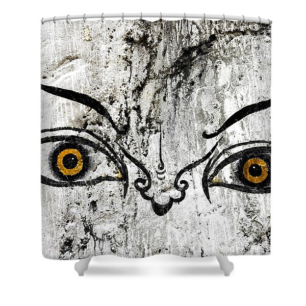 Shower Curtain featuring the photograph The Eyes Of Guru Rimpoche  by Fabrizio Troiani