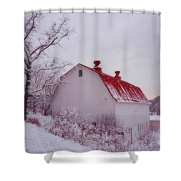 The Farm In Snow Shower Curtain