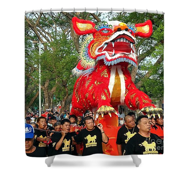 The Fire Lion Procession In Southern Taiwan Shower Curtain