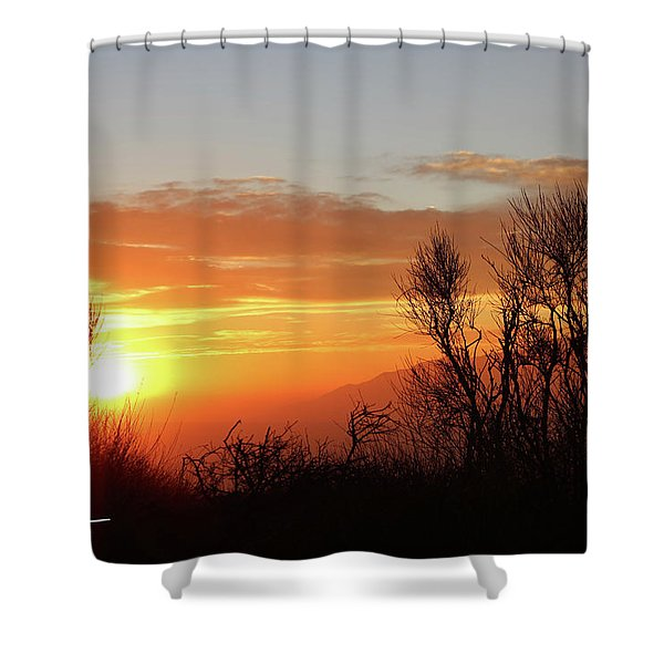 The Fire Of Sunset Shower Curtain