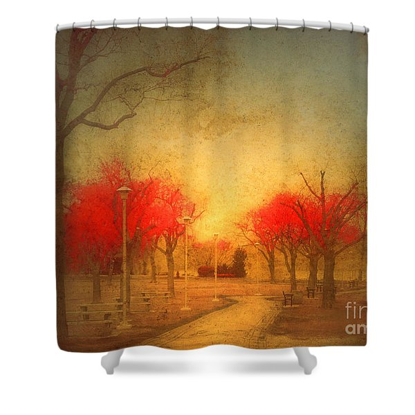 The Fire Trees Shower Curtain