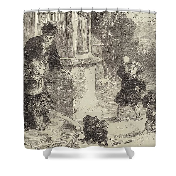 The First Snowball Shower Curtain