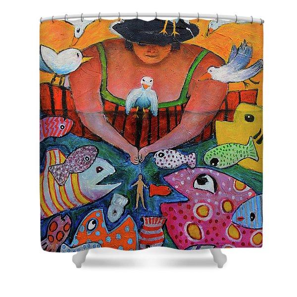 The Fisherman's Almanac Shower Curtain