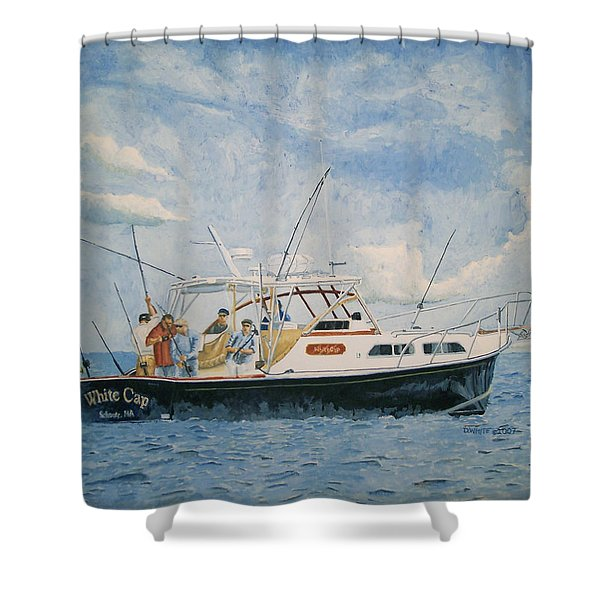 Shower Curtain featuring the painting The Fishing Charter - Cape Cod Bay by Dominic White