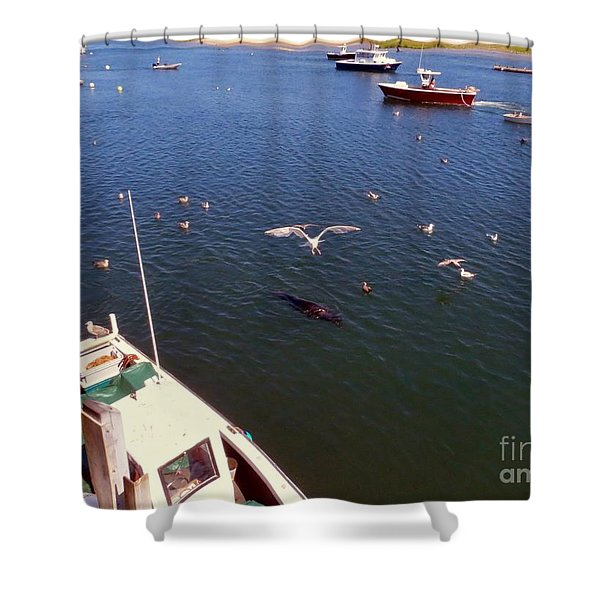 The Fishing Docks Shower Curtain