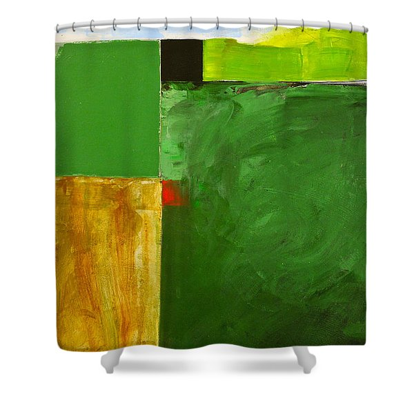 Shower Curtain featuring the painting The Flat Lands by Cliff Spohn