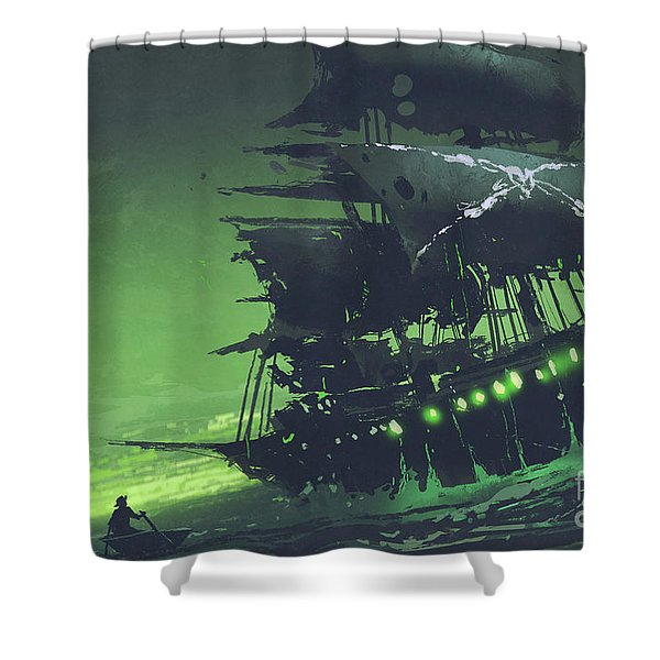 Shower Curtain featuring the painting The Flying Dutchman by Tithi Luadthong