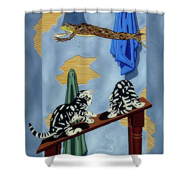 The Flying Frog Shower Curtain