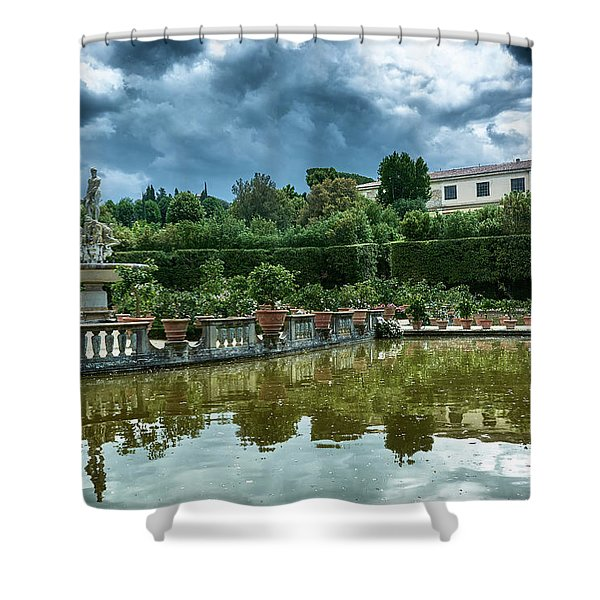 The Fountain Of The Ocean At The Boboli Gardens Shower Curtain