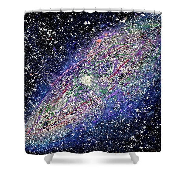Shower Curtain featuring the painting the Galaxy  by Michael Lucarelli