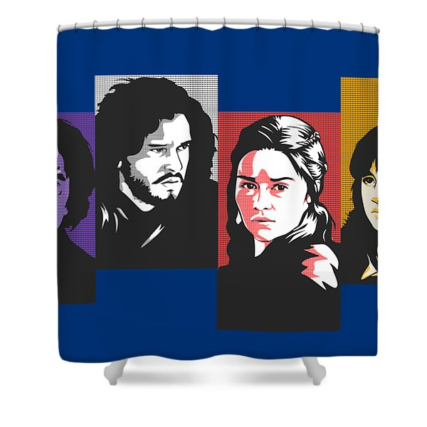 The Game Of Thrones My Favourite Characters 80s Style Jon Snow Khaleesi Tyrion Lannister Bran Stark Shower Curtain