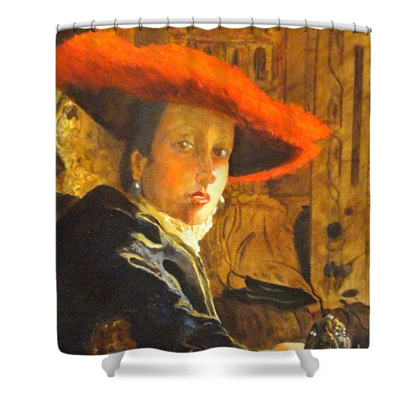 The Girl With The Red Hat After Jan Vermeer Shower Curtain
