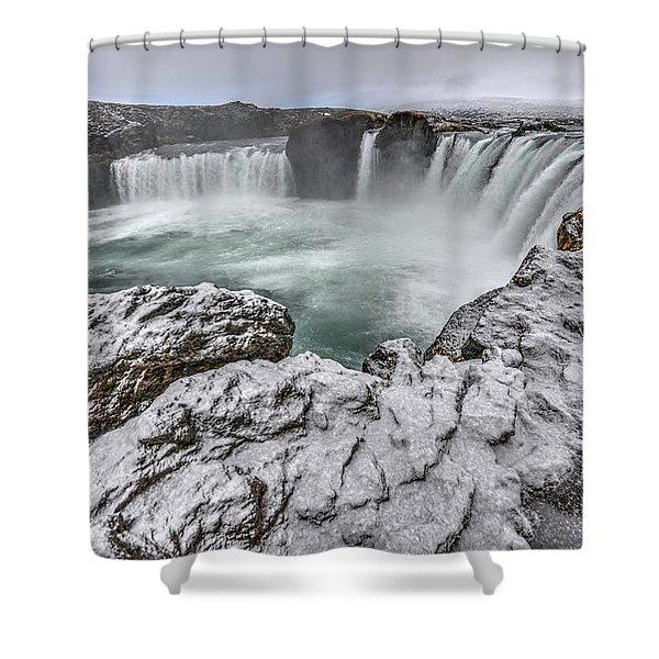The Godafoss Falls In Winter Shower Curtain