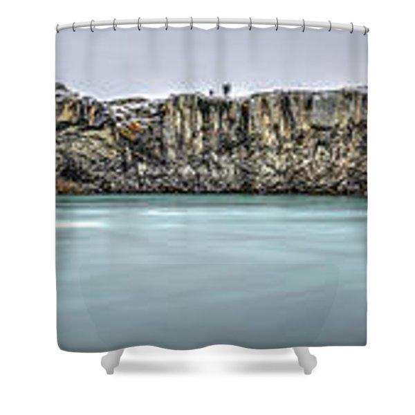 The Godafoss Falls Pano Shower Curtain