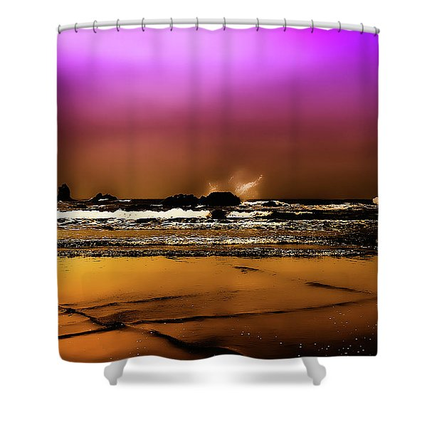 The Golden Beach Shower Curtain