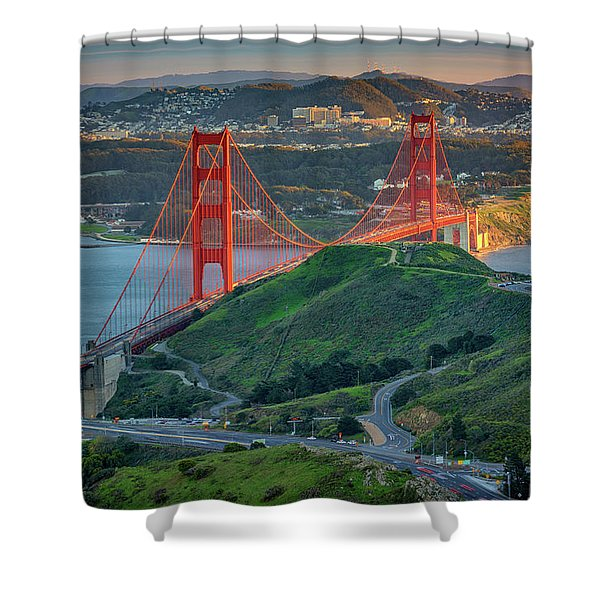 The Golden Gate At Sunset Shower Curtain