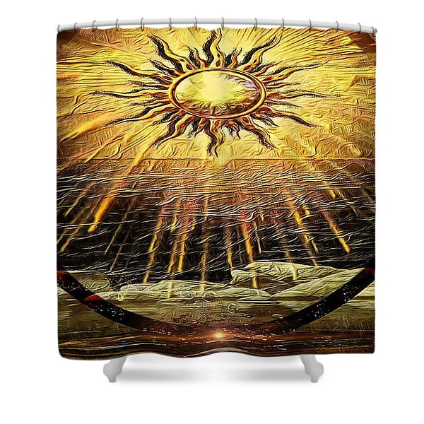 The-golden Ring By The Shore Shower Curtain