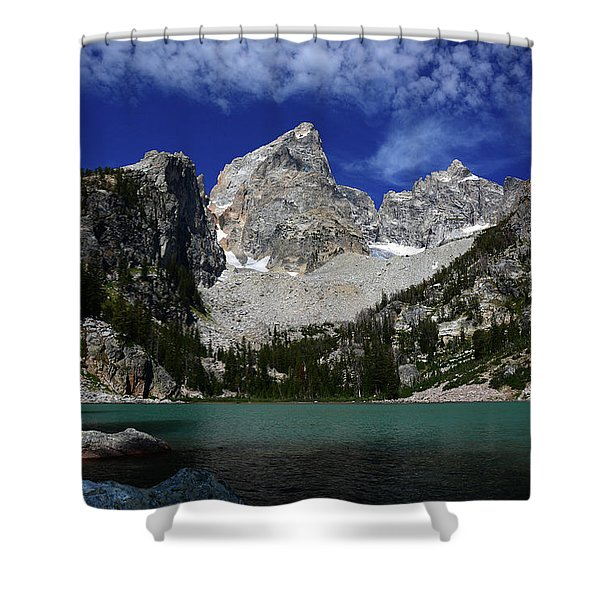 The Grand And Mount Owen From Delta Lake Shower Curtain