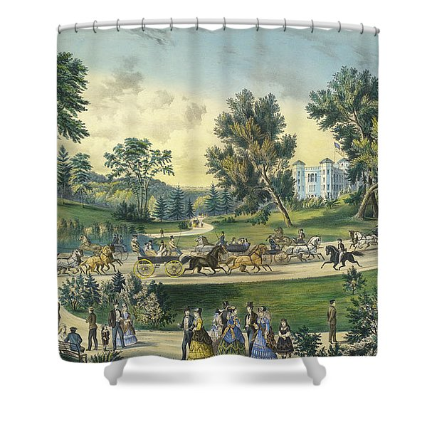 The Grand Drive, Central Park, New York, 1869 Shower Curtain